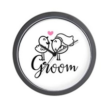 Groom Wedding Cute Birds Wall Clock