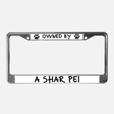 Owned by a Shar Pei License Plate Frame
