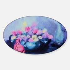 Pink Tulips and Buddah Painting Sticker (Oval)