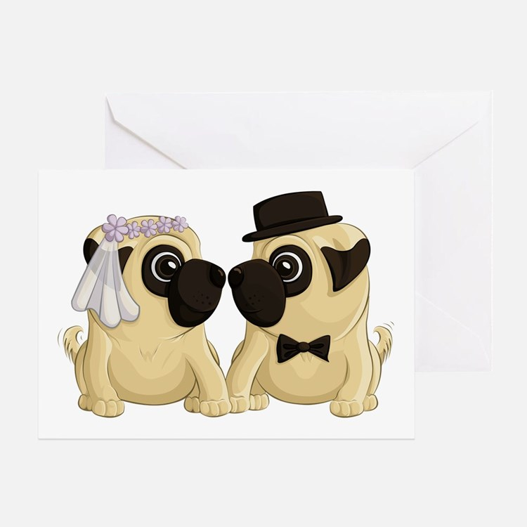 Wedding Pugs Greeting Cards