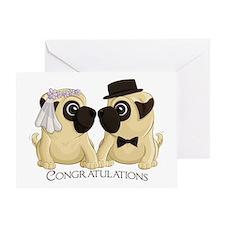 Congrats Wedding Pugs Greeting Cards