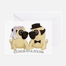 Congrats Wedding Pugs Greeting Cards