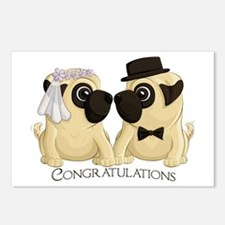 Congrats Wedding Pugs Postcards (Package of 8)
