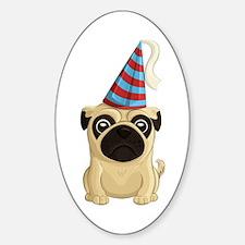 Party Pug Sticker (oval)