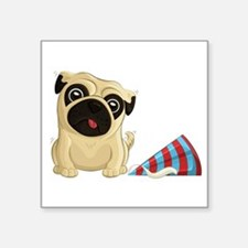 "Party Pug Square Sticker 3"" X 3"""