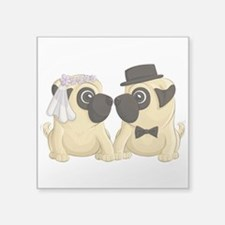 "Wedding Pugs Square Sticker 3"" X 3"""