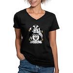 Moone Family Crest Women's V-Neck Dark T-Shirt