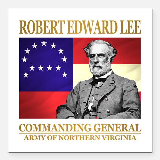 "Robert E Lee Square Car Magnet 3"" x 3"""