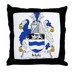 Mole Family Crest Throw Pillow