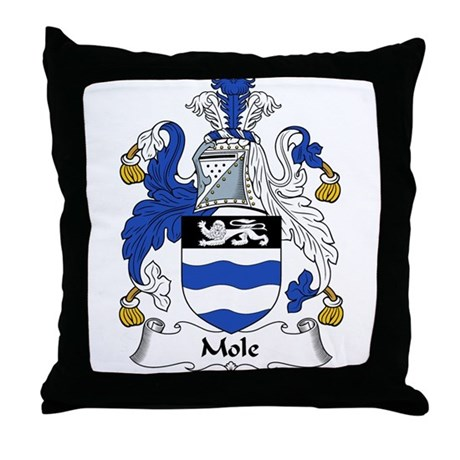 Mole Family Crest Throw Pillow