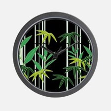 Bamboo on Black Wall Clock