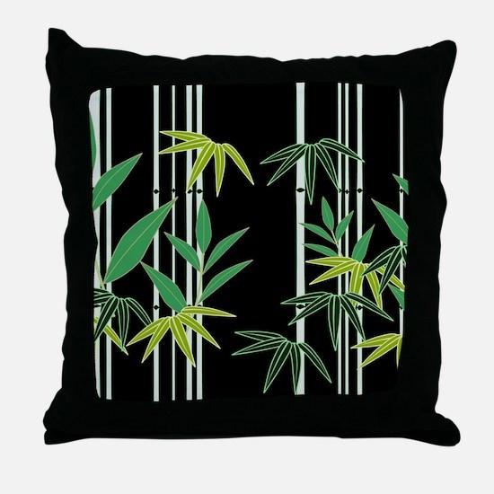 Bamboo on Black Throw Pillow