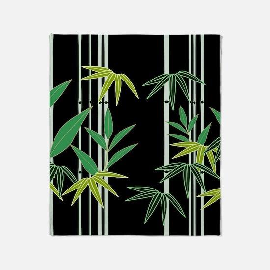 Bamboo on Black Throw Blanket