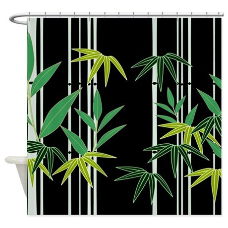 bamboo on black shower curtain