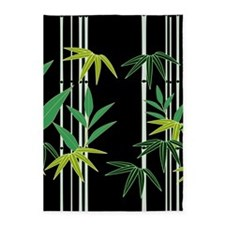 Bamboo on Black 5'x7'Area Rug