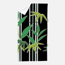Bamboo on Black Beach Towel