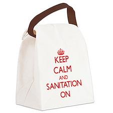 Keep Calm and Sanitation ON Canvas Lunch Bag