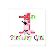 1st Birthday Girl Pink Poodle Sticker