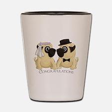 Congrats Wedding Pugs Shot Glass