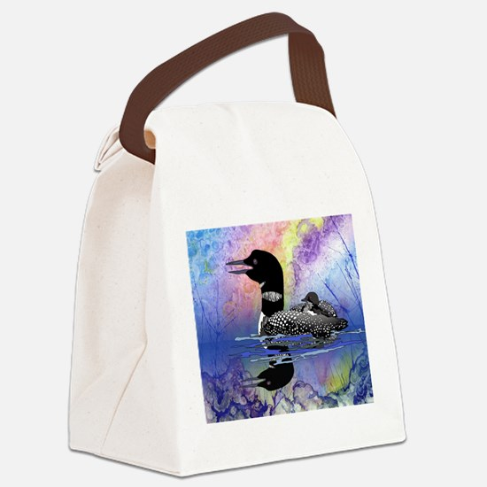 Loon on a lake Canvas Lunch Bag