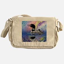 Loon on a lake Messenger Bag