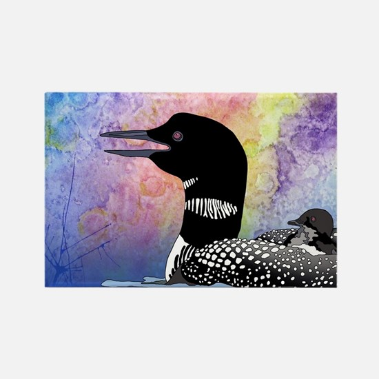 Loon on a lake Rectangle Magnet (100 pack)
