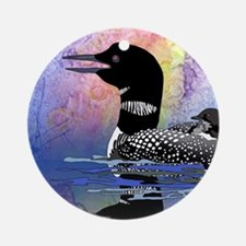 Loon on a lake Ornament (Round)