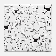 Dog Crazy! Black n White. Tile Coaster
