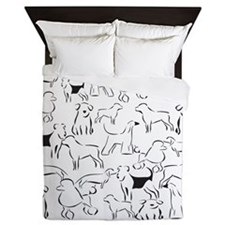 Dog Crazy! Black n White. Queen Duvet