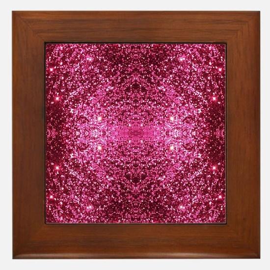 pink glitter Framed Tile