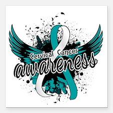 """Cervical Cancer Awarenes Square Car Magnet 3"""" x 3"""""""
