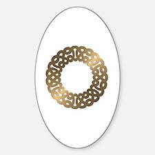 Golden Metallic Celtic Knot Circle Sticker (Oval)