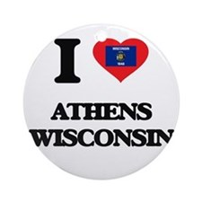 I love Athens Wisconsin Ornament (Round)