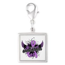 Cancer Awareness 16 Silver Square Charm