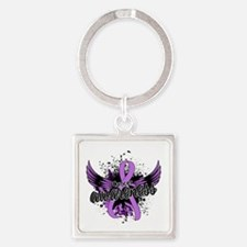 Cancer Awareness 16 Square Keychain