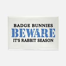 Badge Bunnies Beware Rectangle Magnet