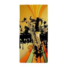 Music, saxophone Beach Towel