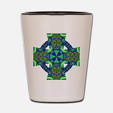 Blue Green Celtic Knot Celtic Cross Shot Glass