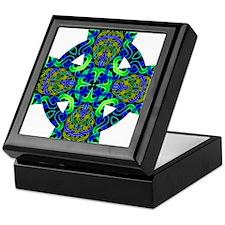 Blue Green Celtic Knot Celtic Cross Keepsake Box