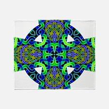 Blue Green Celtic Knot Celtic Cross Throw Blanket