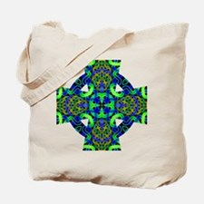 Blue Green Celtic Knot Celtic Cross Tote Bag