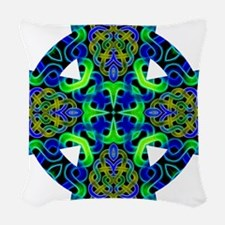 Blue Green Celtic Knot Celtic  Woven Throw Pillow