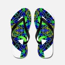 Blue Green Celtic Knot Celtic Cross Flip Flops