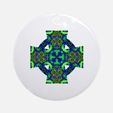 Blue Green Celtic Knot Celtic Cross Round Ornament