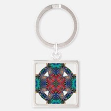 Tropical Daisies Celtic Cross Square Keychain