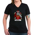 Mayor Family Crest Women's V-Neck Dark T-Shirt