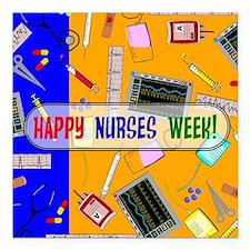 "Happy Nurses Week Square Car Magnet 3"" x 3"""