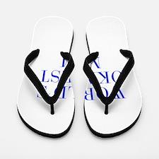 World s Okayest Mom-Bau blue 500 Flip Flops
