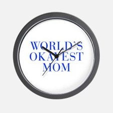 World s Okayest Mom-Bau blue 500 Wall Clock