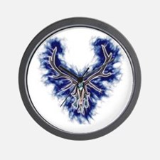 Electric Blue Elk Skull Wall Clock